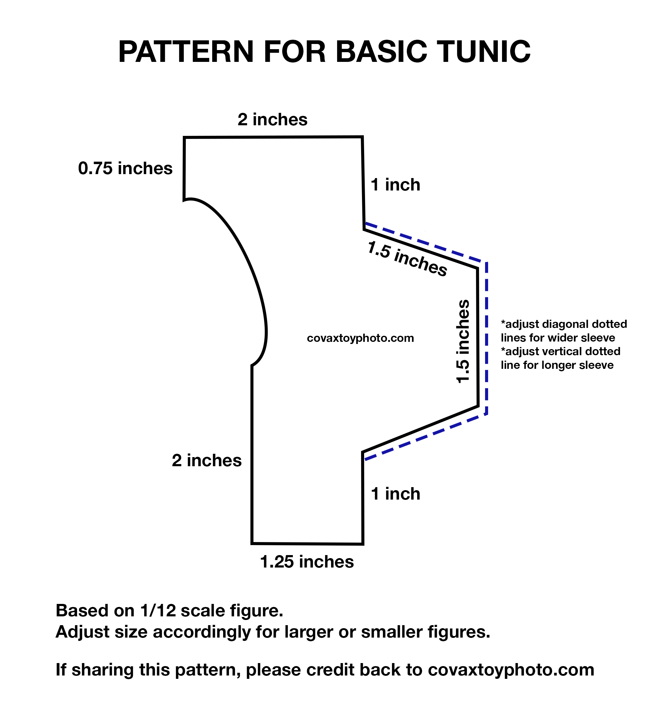 Basic Tunic Shirt Pattern for Action Figures Pattern