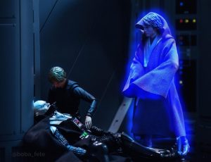 Luminous beings are we…not this crude matter. Luke Skywalker with Darth Vader and his Anakin force ghost